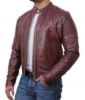 Shaddix Mens Biker Leather Jacket