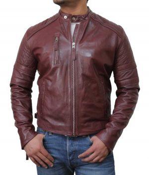 Shaddix Mens Biker Style Maroon Jacket