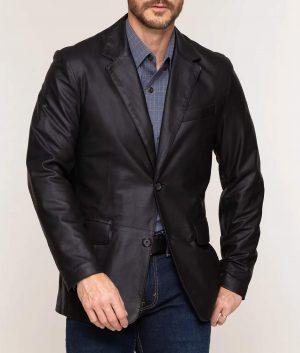 Thomas Mens Leather Blazer
