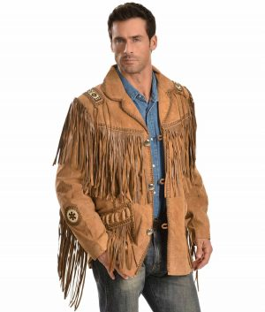 Thomas Mens Collar Fringe Jacket
