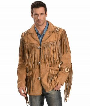 Thomas Mens Turn Down Collar Fringe Jacket