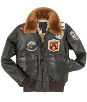 Top Gun Patched G-1 Flight Bomber Brown Leather Jacket