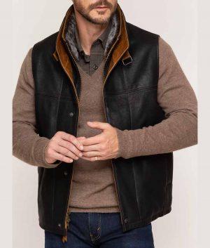 Vecchio Mens Vest with Merino Shearling Collar
