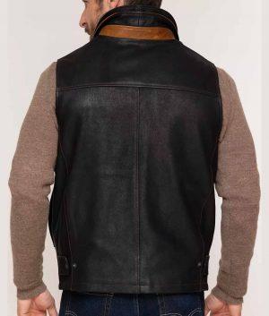 Vecchio Mens Goatskin Leather Vest with Merino Shearling Collar