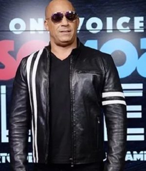 Vin Diesel Bloodshot Ray Garrison Black Leather Jacket