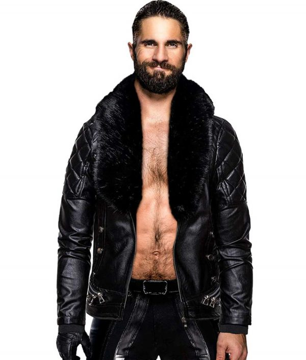 WWE Seth Rollins Black Leather Jacket
