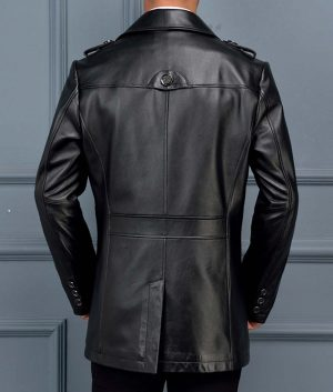 William Mens Lamskin Leather Mid-Length Coat
