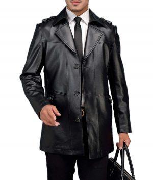 William Mens Lamskin Leather Coat