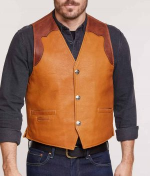 Williams Mens Bison Leather Vest with Concealed Carry Pockets