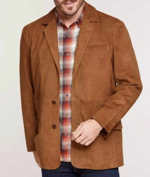 Wingate Mens Goatskin Leather Suede Blazer