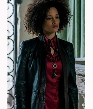 Elarica Johnson A Discovery of Witches Juliette Durand Leather Coat