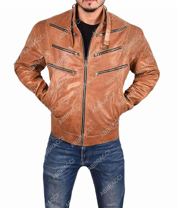 Arrow Bronze Tiger Brown Leather Jacket