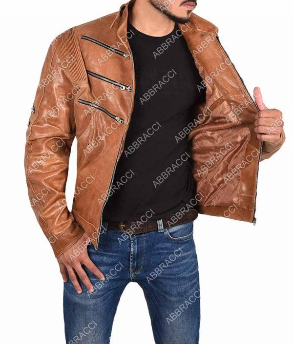 Arrow Bronze Tiger Michael Jai White Brown Leather Jacket