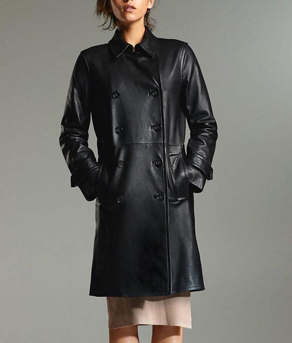 Arrow Season 08 Juliana Harkavy Leather Coat