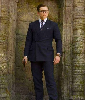 Kingsman The Golden Circle Taron Egerton Eggsy Pinstripe Double Breasted Suit