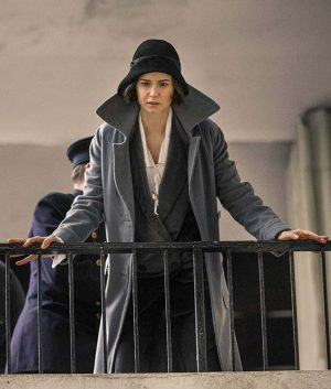 Katherine Waterston Fantastic Beasts Tina Goldstein Grey Wool Coat