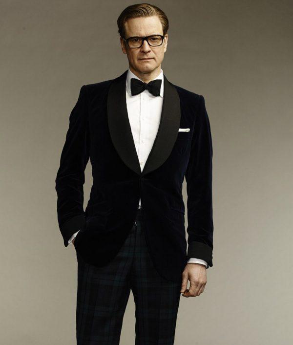 Kingsman The Secret Service Colin Firth Mr. Porter Velvet Blue Smoking Dinner Tuxedo Jacket