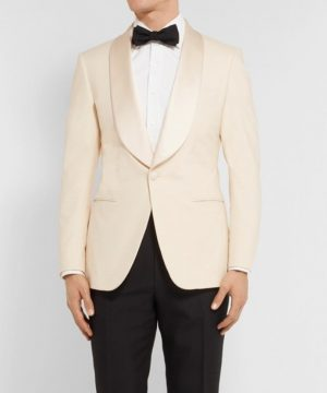 Kingsman Ivory Dinner Tuxedo Jacket With Bow Tie