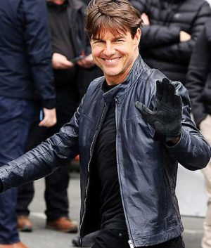 Mission Impossible 6 Ethan Hunt Blue Café Racer Leather Jacket