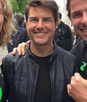Tom Cruise Mission Impossible 6 Ethan Hunt Blue Café Racer Leather Jacket