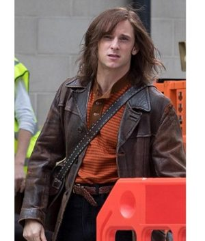 Jamie Bell Rocketman Bernie Taupin Brown Leather Jacket