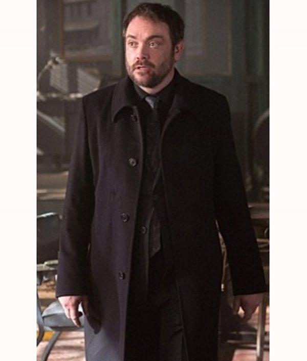 Mark Sheppard Supernatural TV Series Crowley Black Wool Coat