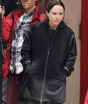 Vanya The Umbrella Academy Ellen Page Black Leather Jacket