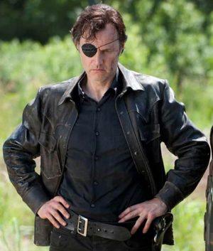 The Walking Dead David Morrissey Governor Black Leather Jacket