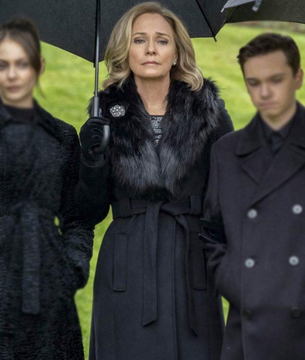 Arrow Season 08 Fadeout Susanna Thompson Belted Moira Queen Coat