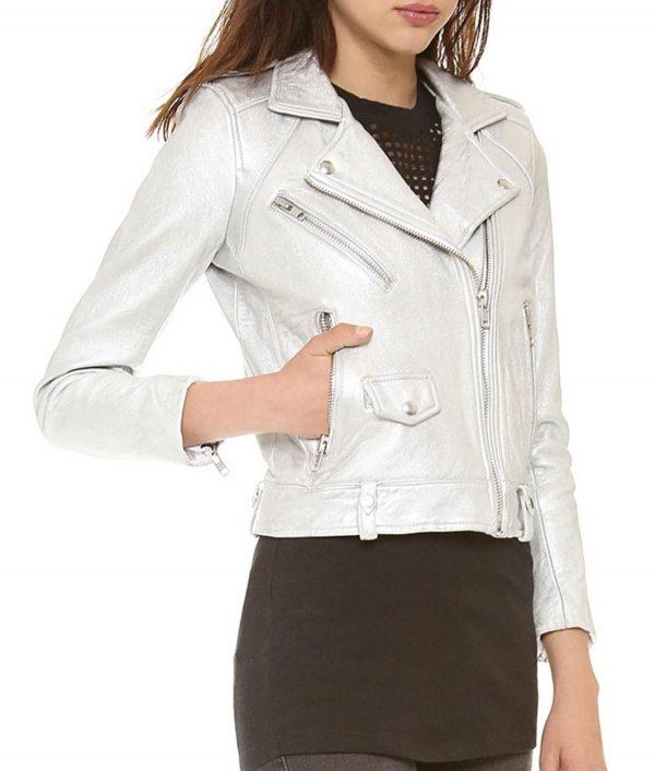 Arrow S5E21 Thea Silver Leather Jacket
