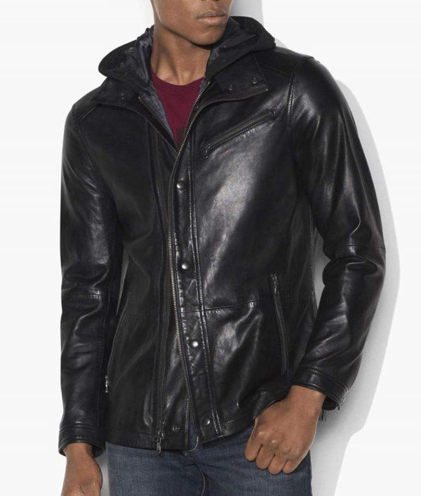 Diggle Black Leather Hooded Jacket