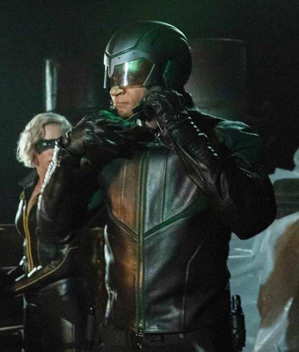 Arrow Season 08David Ramsey Green Leather John Diggle Spartan Jacket