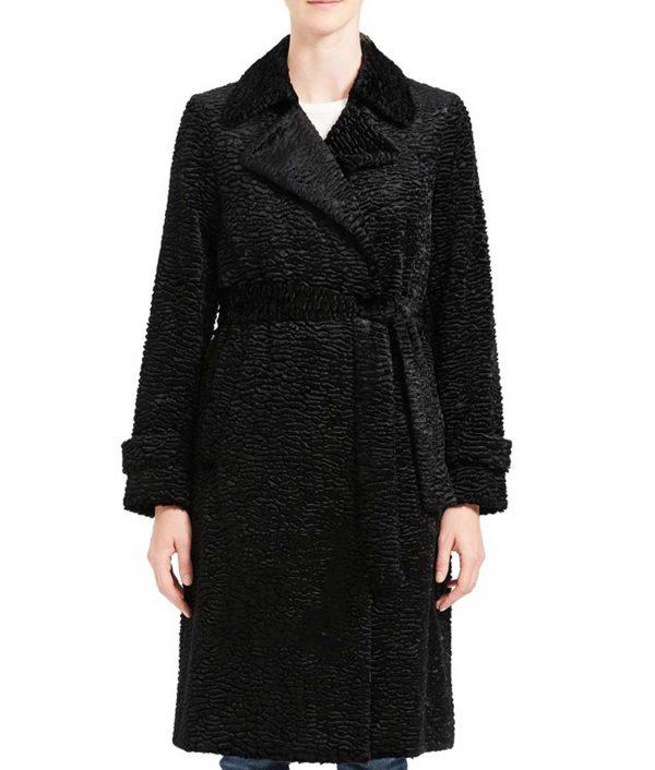 Arrow Season 08 Willa Holland Black Thea Queen Textured Coat