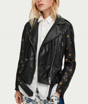 Batwoman Gold Star Embroidery Nicole Kang Leather Jacket
