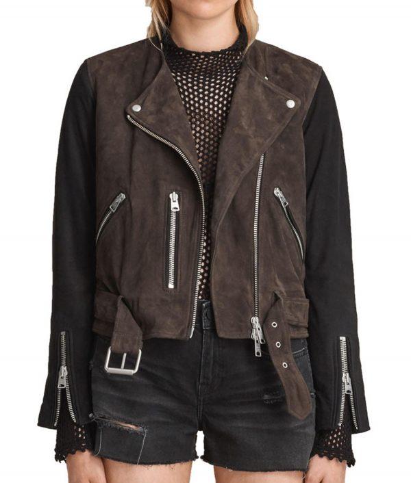 Black Siren Motorcycle Suede Leather Biker Jacket
