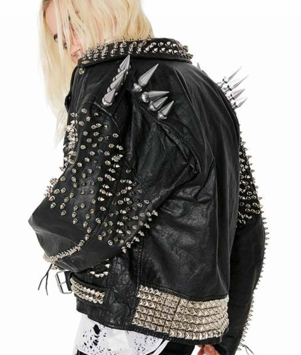 Black Vintage Studs and Spike Motorcycle Leather Jacket