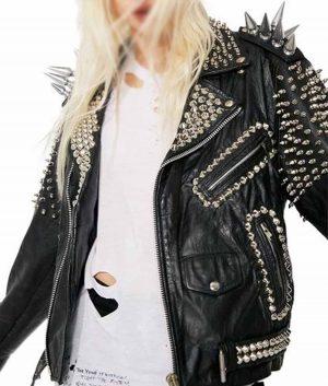 Black Vintage Studs and Spike Leather Jacket