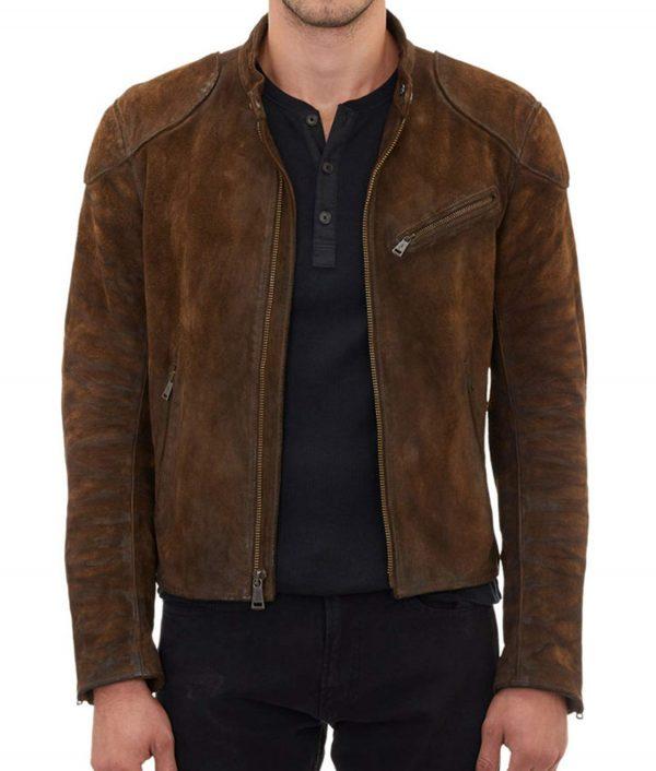 Roy Harper Café Racer Suede Leather Jacket