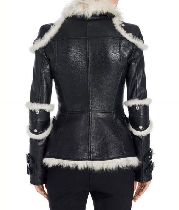 Elisa Black Leather Shearling Jacket