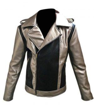 X-Men Apocalypse Evan Peters Silver Leather Motorcycle Jacket