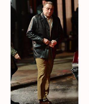 Robert De Niro The Irishman Frank Sheeran Leather Blazer