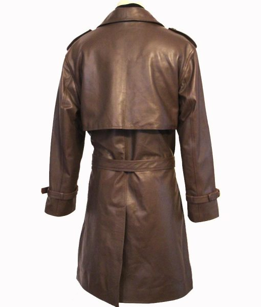 Richard Roundtree Brown Double Breasted John Shaft Leather Coat