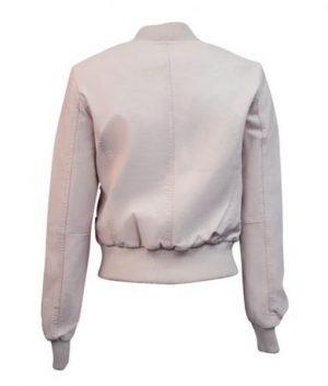 Light Pink Womens Top Gun Vegan Leather Jacket