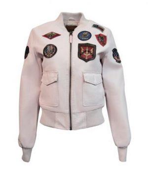 Light Pink Women's Top Gun Vegan Leather Bomber Jacket