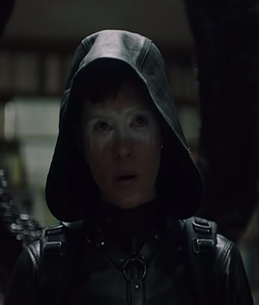 Claire Foy Girl In The Spider Web Lisbeth Salander Black Leather Hooded Jacket