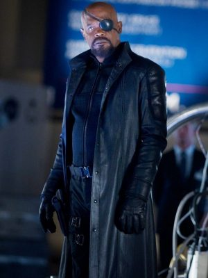 Nick Fury Samuel L. Jackson Avengers Long Leather Trench Coat