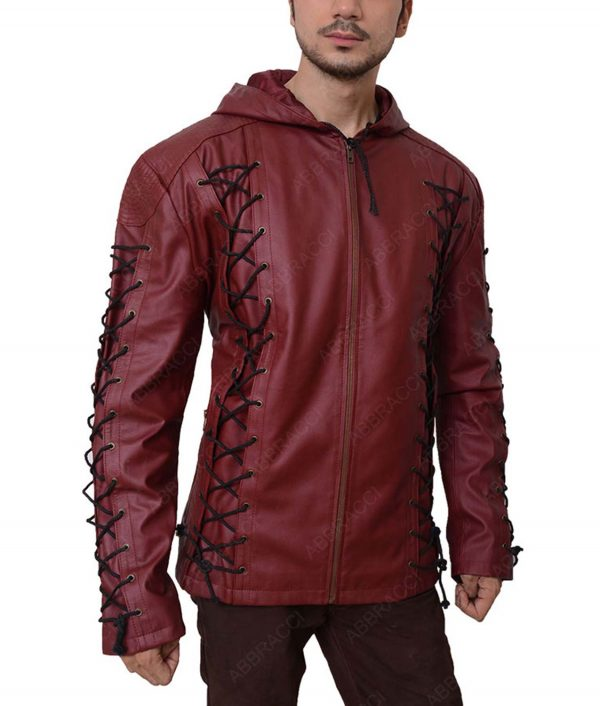 Roy Harper Red Arrow Arsenal Hooded Leather Jacket