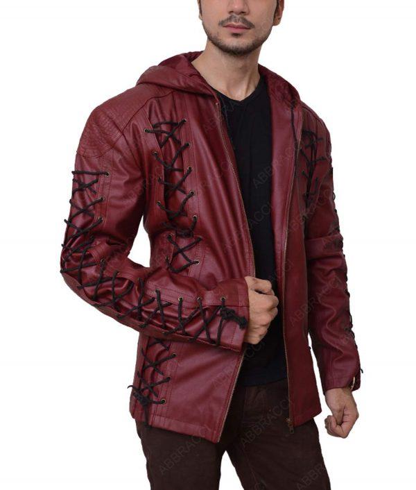 Roy Harper Red Hooded Leather Jacket
