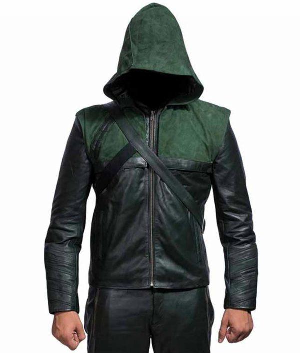 Green Arrow Hooded Leather Jacket