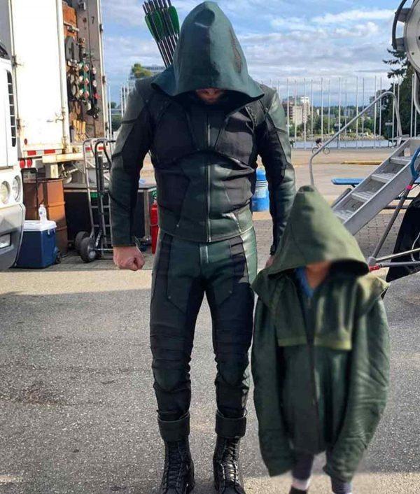 Stephen Amell Green Arrow S08 Hooded Jacket